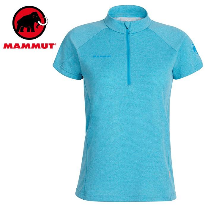 【Mammut 長毛象 瑞士】Aegility 立領短袖排汗衣 運動上衣 女款 湛藍色 (01800-50318)