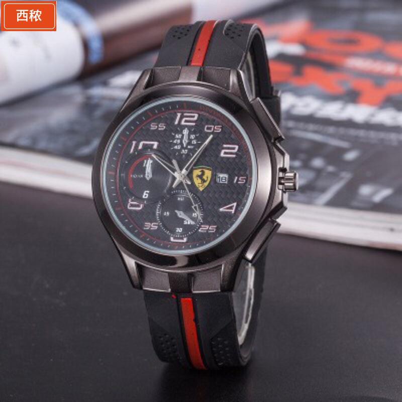 【現貨】【現貨】熱賣新款Ferrari汽車GT矽膠皮帶手錶 男士韓版時尚商務休閒皮帶大奔手錶西秾汽車百貨