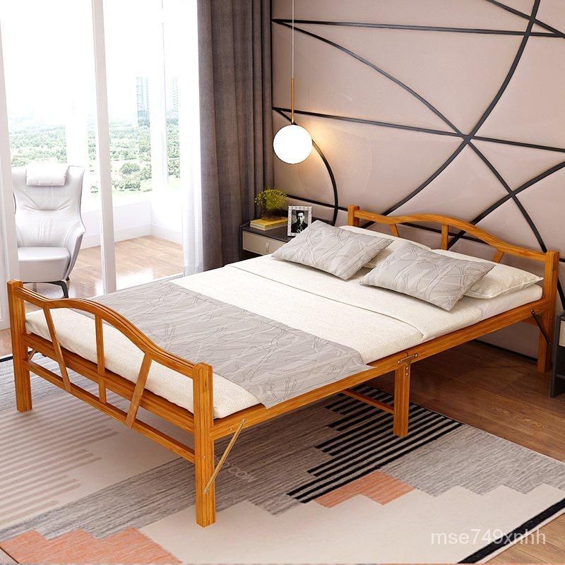 新款簡易折疊折疊午休床【免運】竹床全竹折疊床單人雙人夏季涼床租房簡易硬板便攜家用1米2午睡床