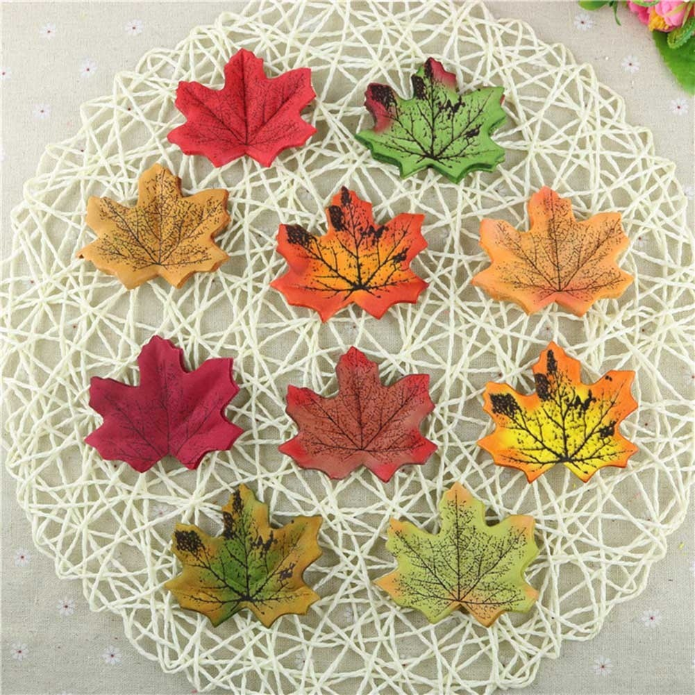 人造落絲葉子DIY飾品仿真秋天楓葉樹葉婚慶用品
