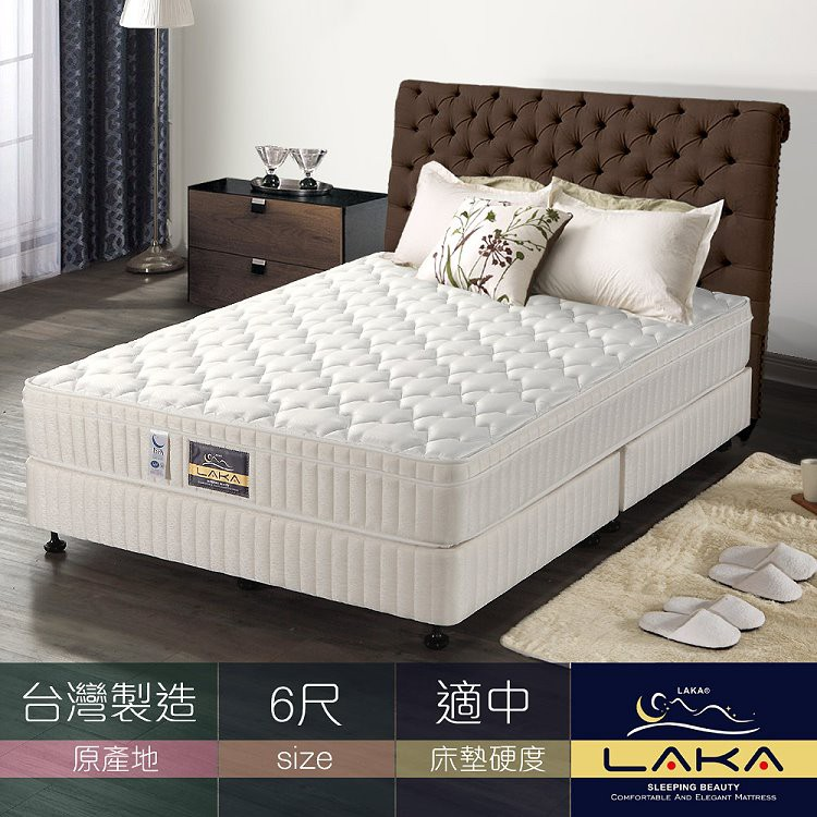【LAKA】3M防潑水三線蜂巢式獨立筒乳膠床墊-雙人加大6尺