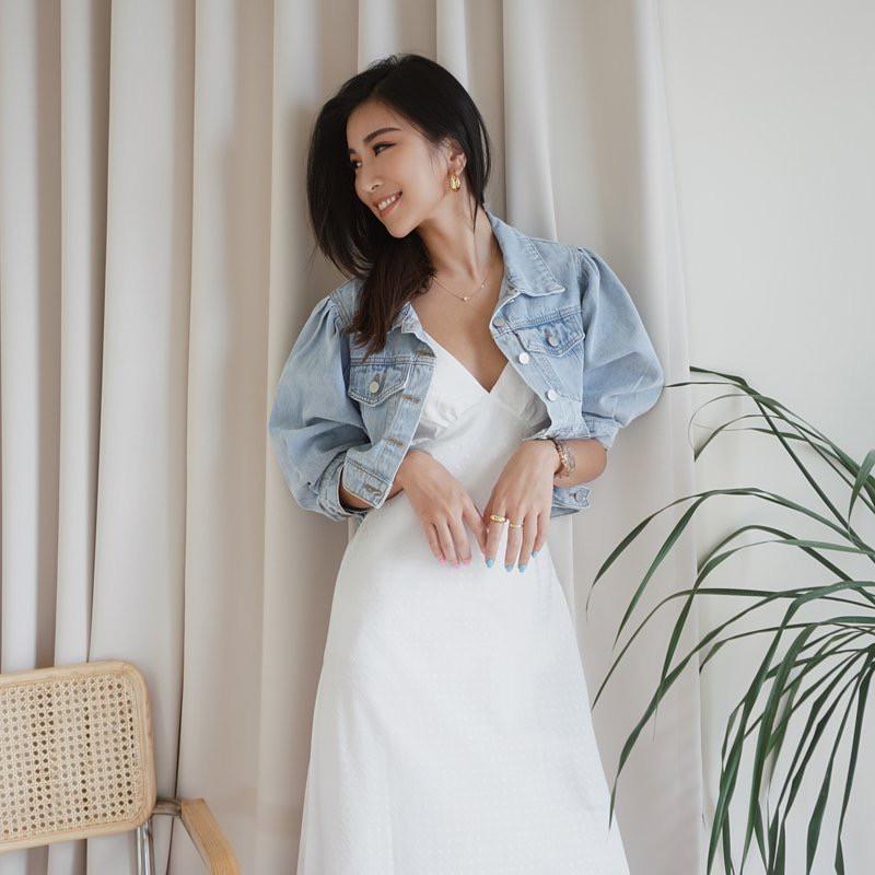 韓國短版五分公主袖牛仔外套
