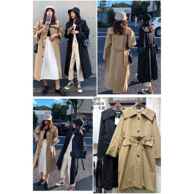 韓國同款____♥️斜紋挺料大翻領設計風衣外套