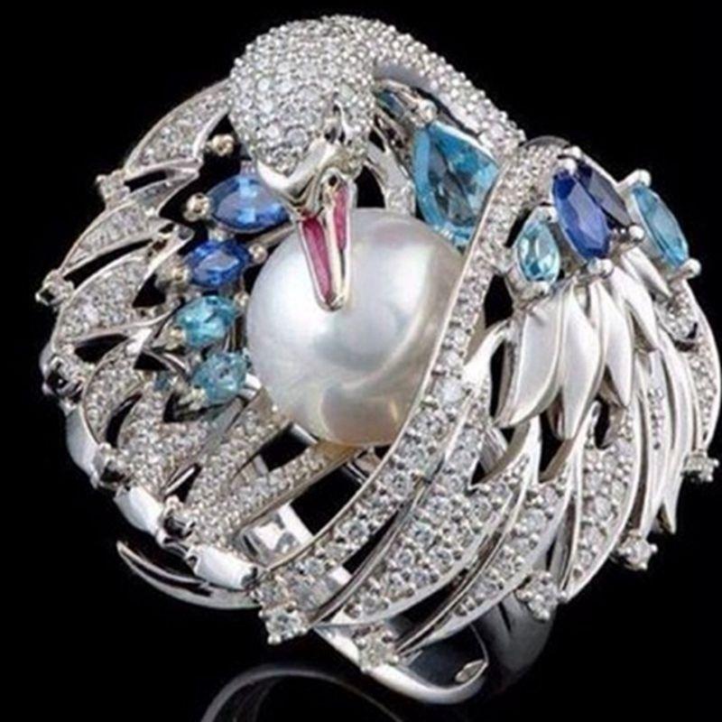 婦女的豪華復古白天鵝珍珠訂婚戒指
