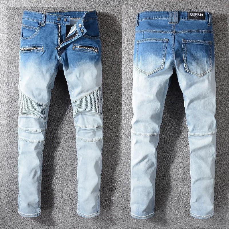 BALMAIN JEANS 巴爾曼 牛仔褲 修身小腳褲 直筒長褲 男生牛仔褲 微破洞牛仔褲  時尚 長褲 拼接拉鏈牛仔褲