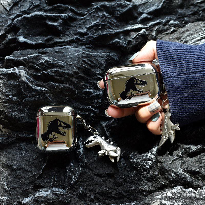 【台灣公司貨】電鍍卡通侏羅紀恐龍適用AirPods2代保護套創意蘋果3代Pro耳機軟殼 造型保護套 藍牙耳機套 ZYnD