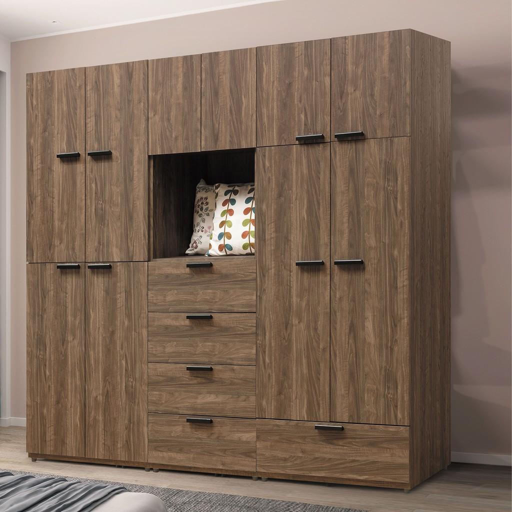 【210cm組合衣櫃-B98-01】木心板 推門滑門開門 衣服收納 免組裝【金滿屋】