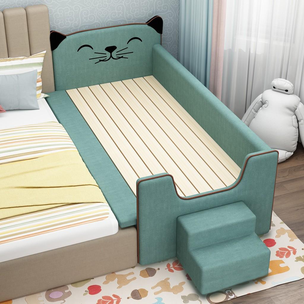 【新店優選】實木兒童床帶護欄拼嬰兒床加寬加小床拼接大床延邊拼接床軟包神器