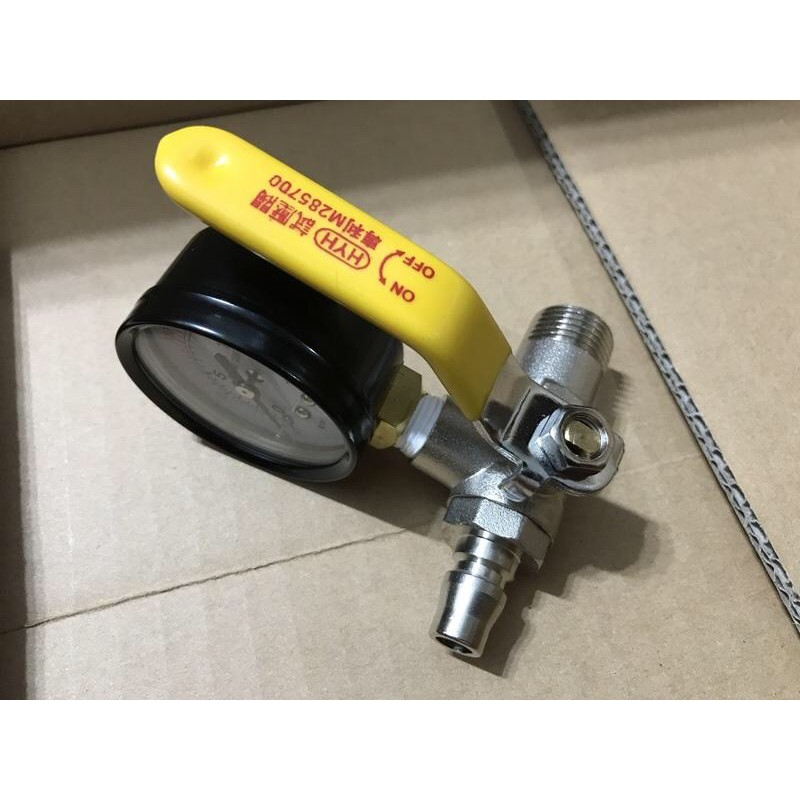 試水壓力表 水壓測試 把手型試水球閥 試壓表附球塞 試水壓力錶 測試水壓 測水壓 試水壓 水壓表