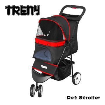 【TRENY直營】TRENY 快速收合 高級寵物推車-紅 附杯架跟置物籃 狗推車 貓推車 外出旅行 YB501-R