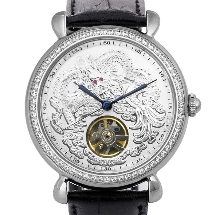 5B075 ⌚機械錶不銹鋼真皮錶帶機械表晶鑽龍行天下經典紅寶手錶八心八箭銀曼莉萊克 Manlike