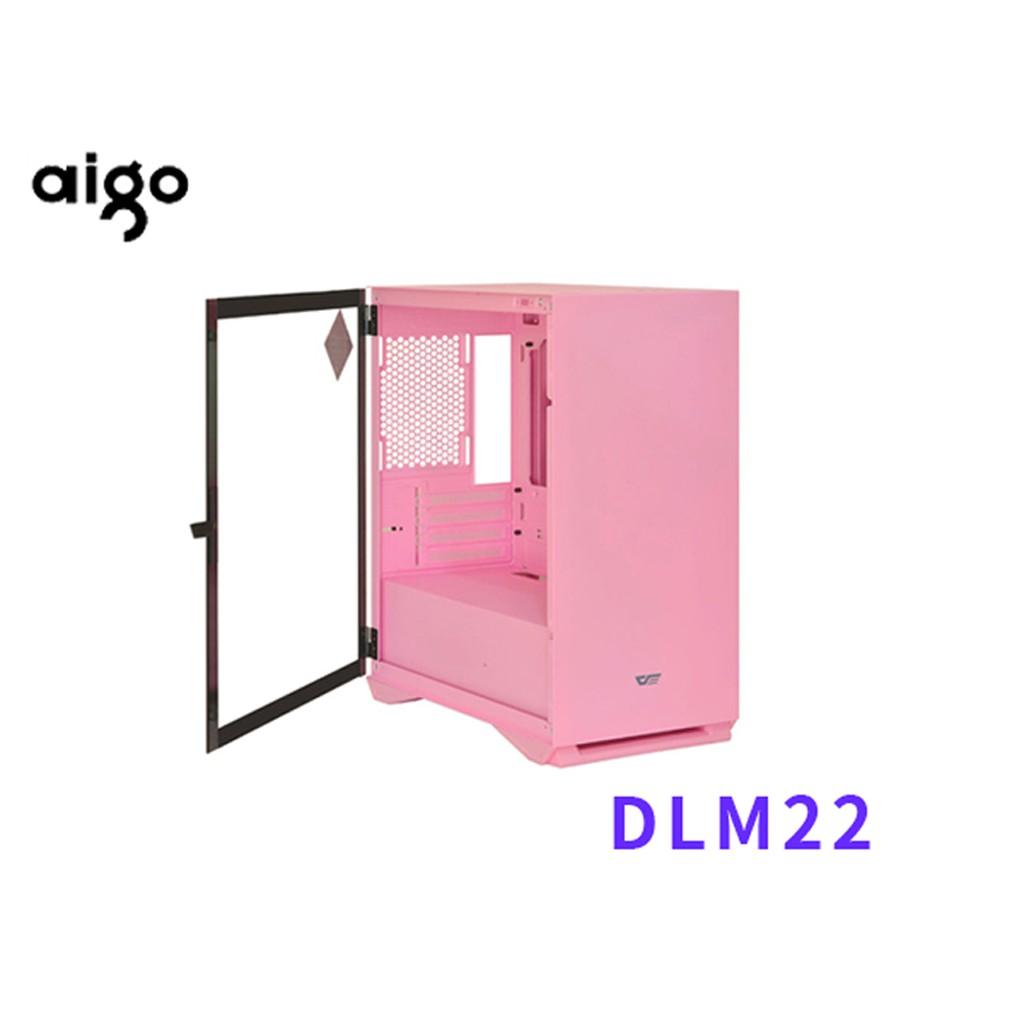 Aigo DLM22 粉色 玻璃透側 電腦機殼