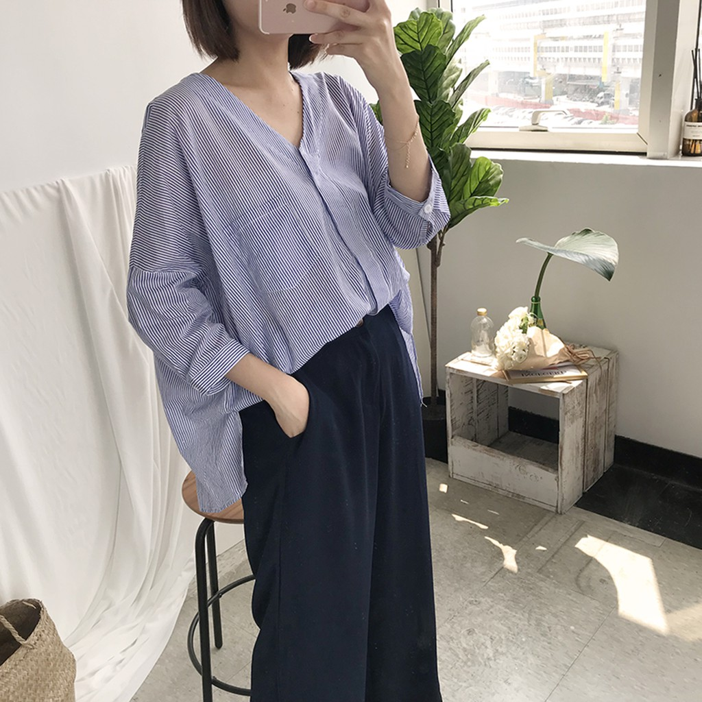 THE LADYWORE   輕盈V領條紋棉麻襯衫