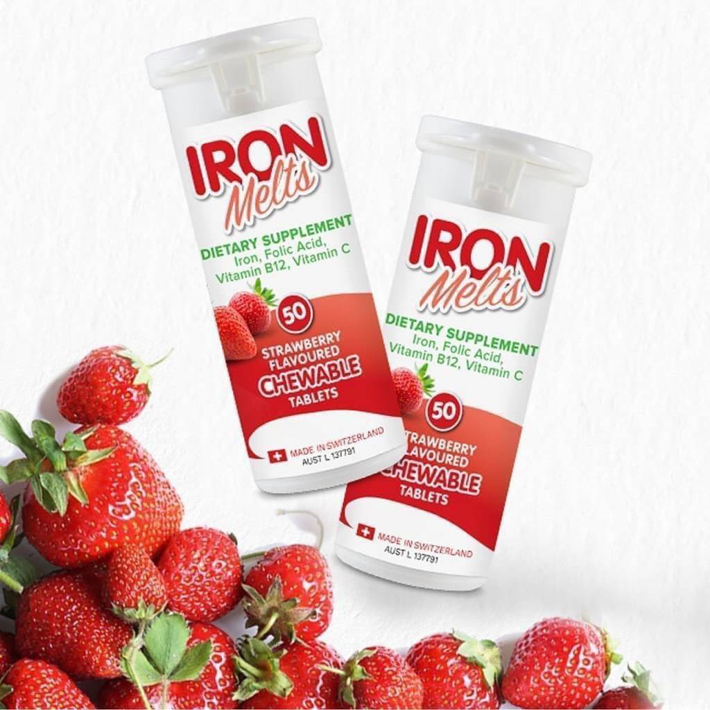 【紐澳專業代購】 ~ Iron Melts補鐵咀嚼片~草莓口味 現貨