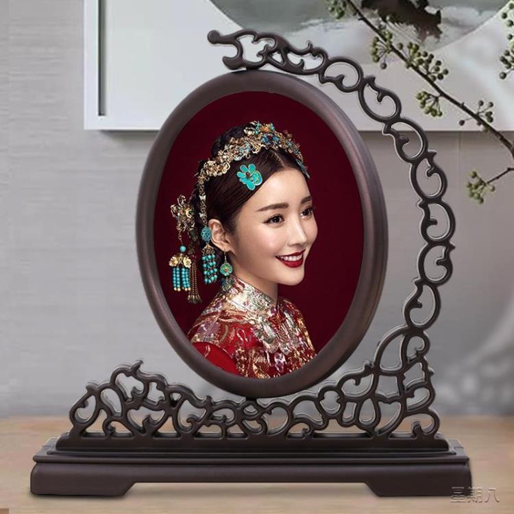 新品 相框 新古典相框擺臺帶打印照片中式中國風框架創意復古風擺臺照片 快速出貨
