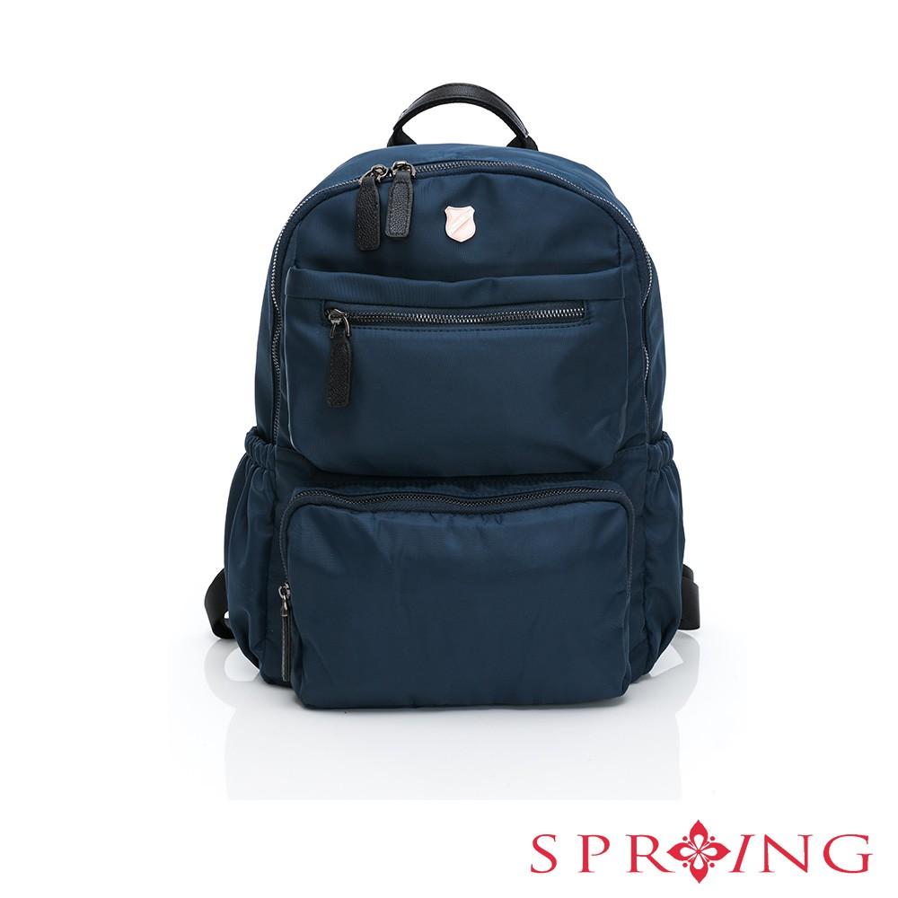 SPRING-未來質感系列尼龍雙口袋後背包-多色