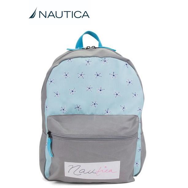 【正版】美國 NAUTICA 輕量 後背包 背包 書包 全新 雙肩包 雙拉鍊 藍 小學可用 帆船牌