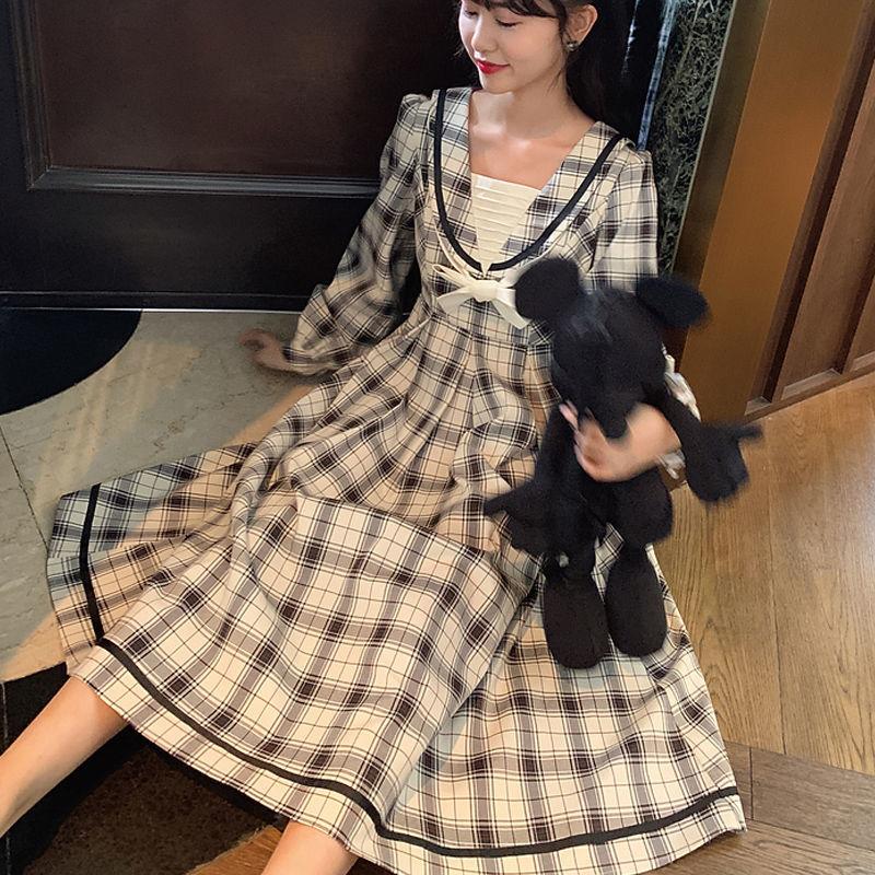 【檸檬樹】長袖洋裝連衣裙洋裝復古學院風蝴蝶結高腰遮肉顯瘦長袖中長款連衣裙女學生2020秋新款洋裝禮服
