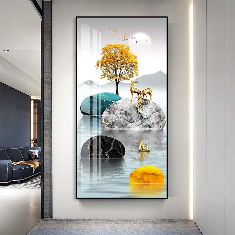 入門玄關裝飾畫豎版走廊過道壁畫現代簡約北歐玄幻晶瓷畫客廳掛畫