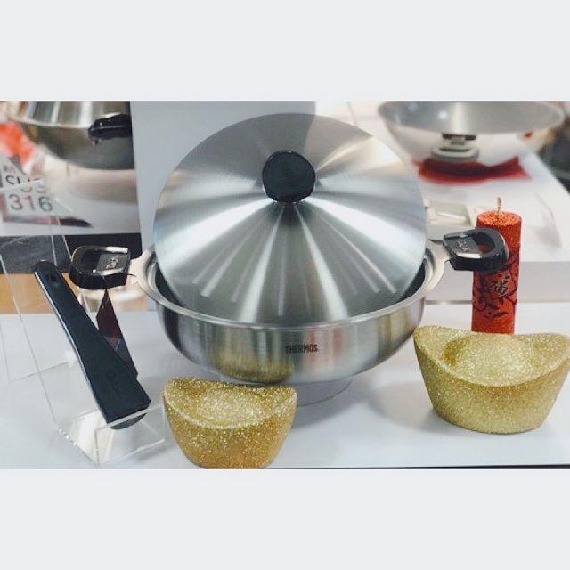 現貨 全新 THERMOS膳魔師 K22A-F28 健康原味鍋 雙耳平底鍋28cm 316不鏽鋼鍋油炸鍋/炒菜鍋/火鍋