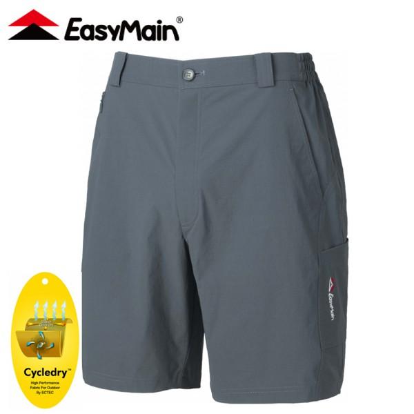 【EasyMain 衣力美 男 彈性快乾細格五分褲《灰藍》】RE20049/短褲/休閒短褲/悠遊山水