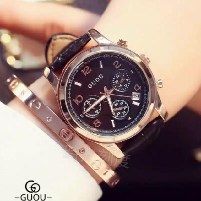 正品 古歐GUOU真三眼玫瑰金計時帶日期手錶 腕錶 女生手錶 精品手錶