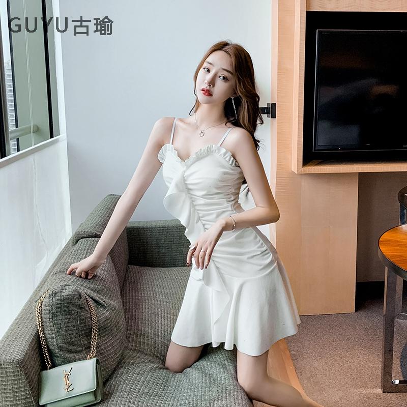 優雅性感無袖吊帶洋裝魚尾連衣裙生日聚會party洋裝顯身材連身裙