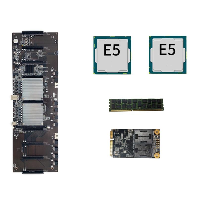 Quu BTC X79 雙 CPU Miner 主板支持 9 x 3060 GPU 加密貨幣 BTC 主板 DDR3 P