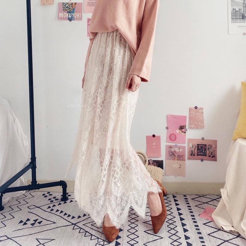 DoMiss溫柔蕾絲長裙 2色 韓國長裙 裙子女 長裙 蕾絲裙