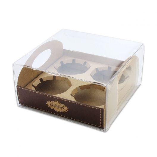 [現貨](紙盒+透明盒)4格 圓球杯 胖胖杯 牛皮質感包裝盒 布丁燒紙盒 禮盒 展示盒 收納盒【C086】