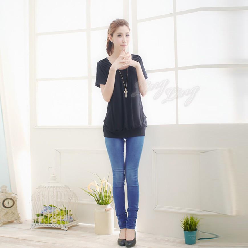 【Kilei】棉壓折接雪紡遮腹短袖上衣XA1006-03(簡約黑)大尺碼