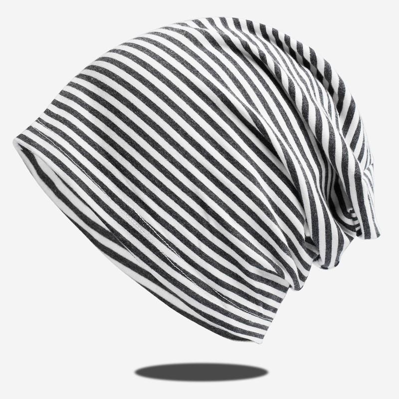 2021 帽子新款春夏純棉針織帽時尚條紋薄款包頭帽透氣月帽日式帽子