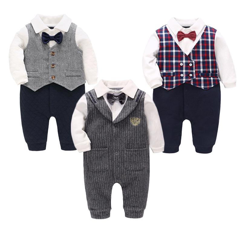 Vlinder 童裝男寶寶連體衣純棉長袖嬰兒爬服滿月周歲禮服紳士服新生兒衣服