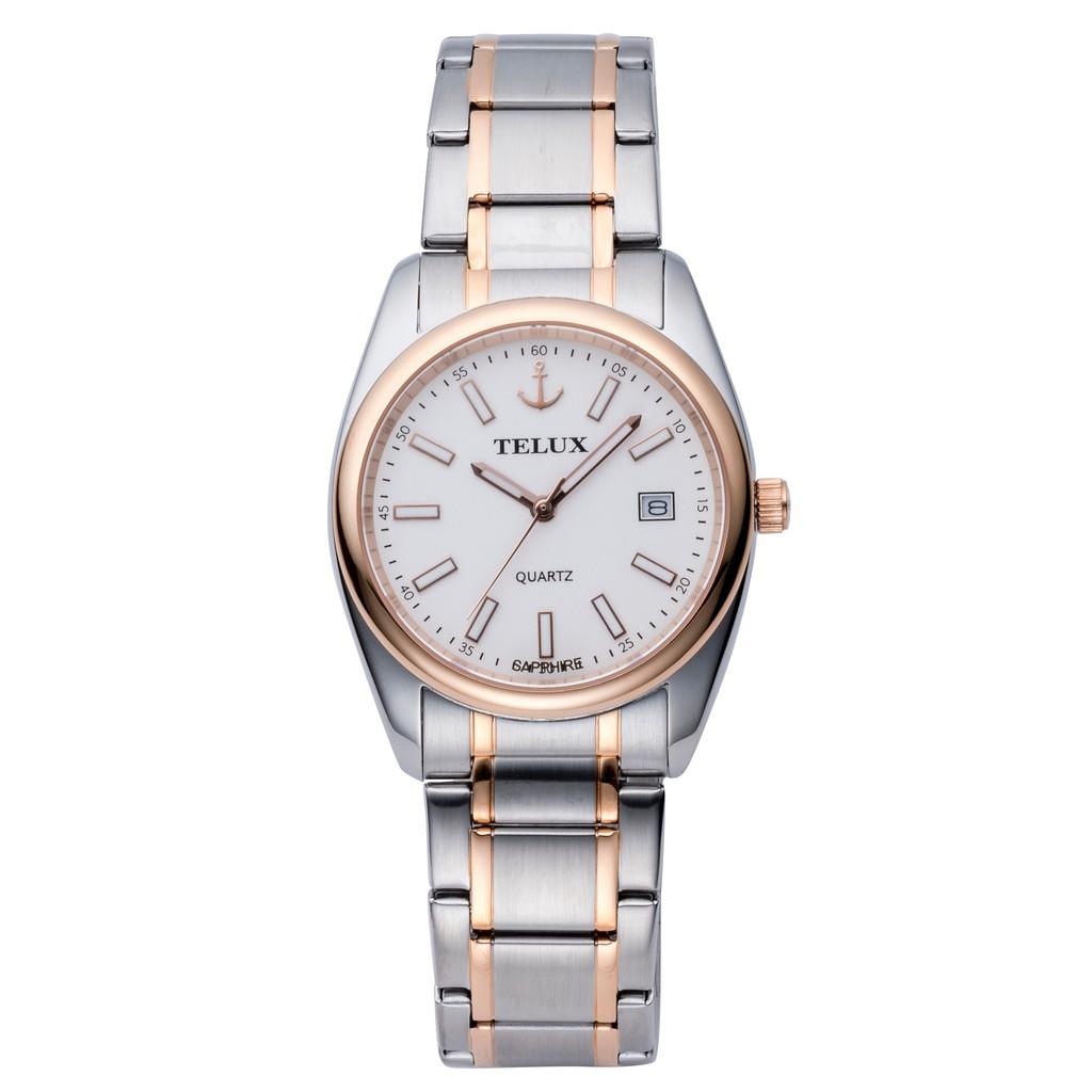 台灣品牌手錶腕錶【TELUX鐵力士】紳士腕錶手錶39mm台灣製造石英錶7010RG-W15 中金鋼帶白面-另有女款