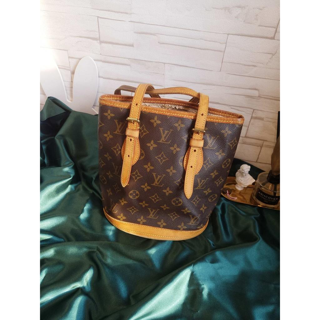 f83ab776f800 「中古奢品」Louis Vuitton路易威登|6.8成新經典老花單肩小水桶蜜色配皮vintage 中古品| 蝦皮購物