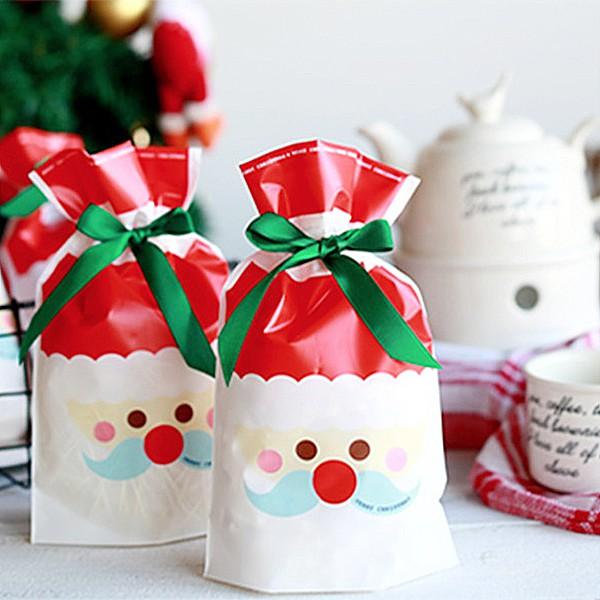 [現貨]聖誕老人藍鬍鬚束口禮物袋 糖果袋 包裝袋 (10入裝)聖誕禮物 交換禮物【XM0095】《Jami Honey》