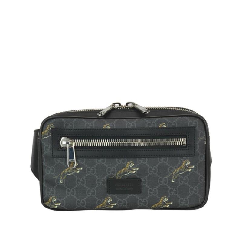 專櫃正品 | Gucci GG Supreme 滿版老虎黑色腰包