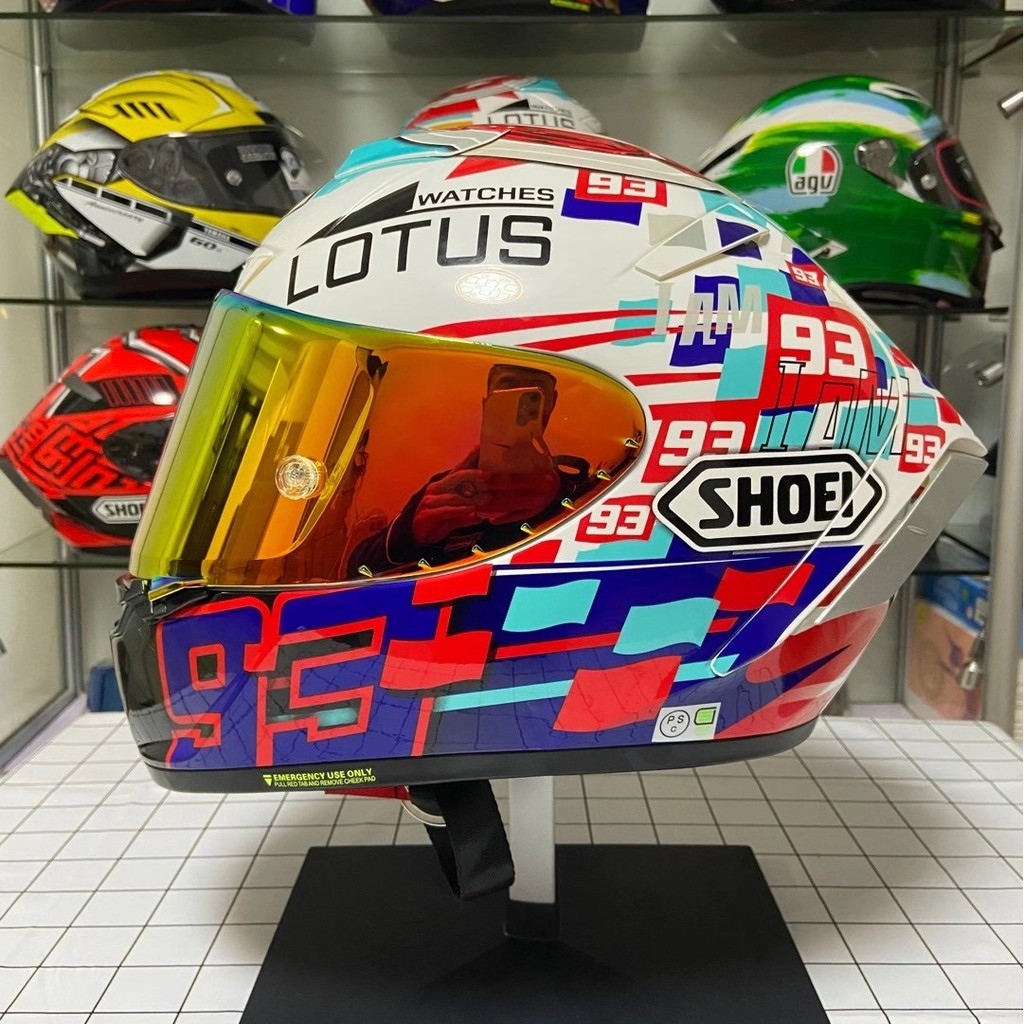 shoei安全帽 x14 93電源鍵 全罩式安全帽 雙D扣 機車 摩托車 電動車頭盔 男女四季通用安全帽 機車帽