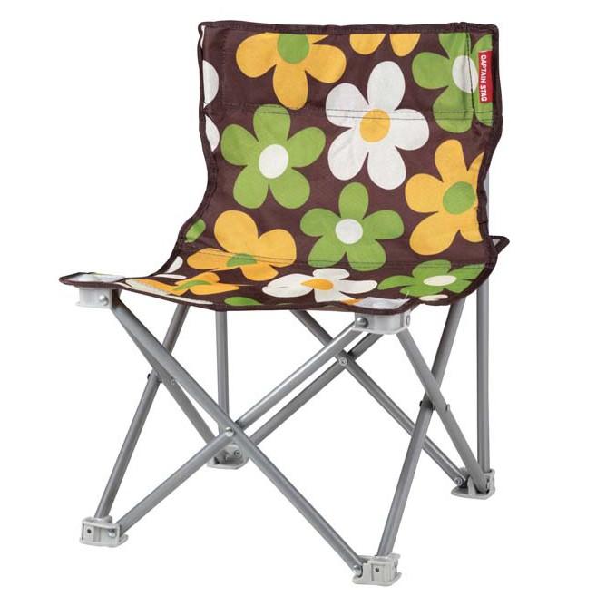 【CAPTAIN STAG 鹿牌 日本】花花野營椅 折疊椅 釣魚椅 童軍椅 休閒椅 棕色 (UC-1595)