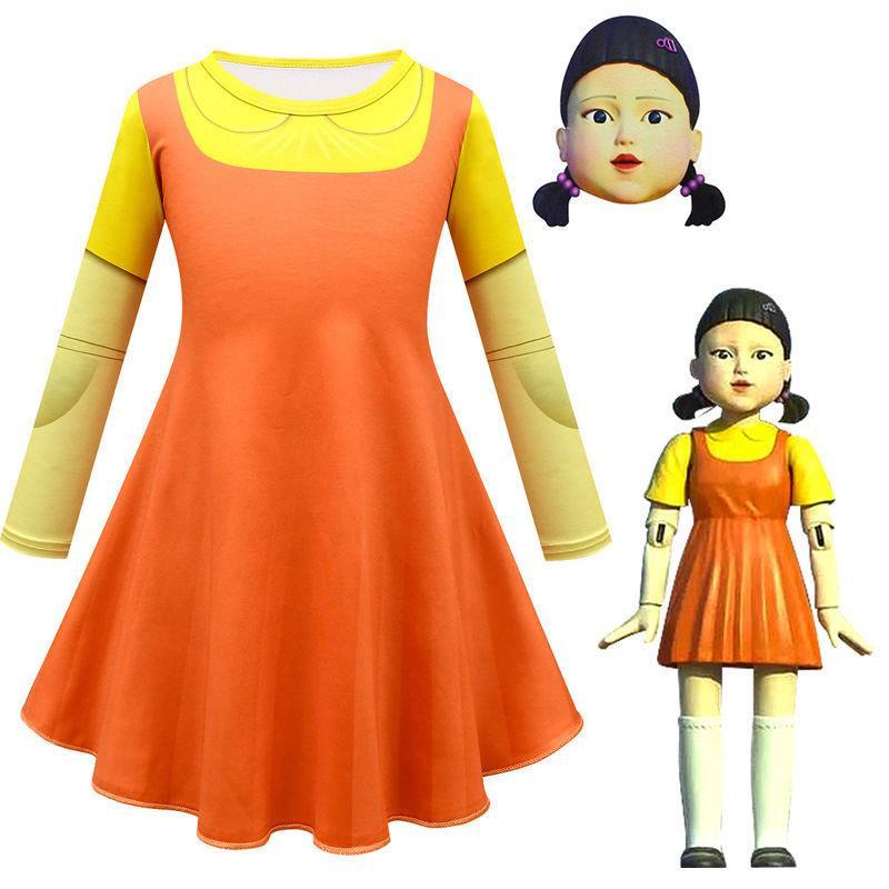 萬聖節#服裝#squid game韓劇魷魚游戲同款衣服123木頭人萬圣節cosplay服裝女童