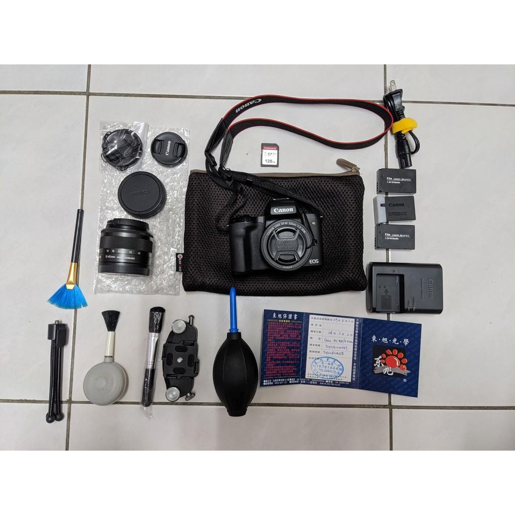 台南市可面交 二手 購於108/03/02 canon 佳能 微單眼 eos m50 全套組 標準+定焦鏡 三顆電池