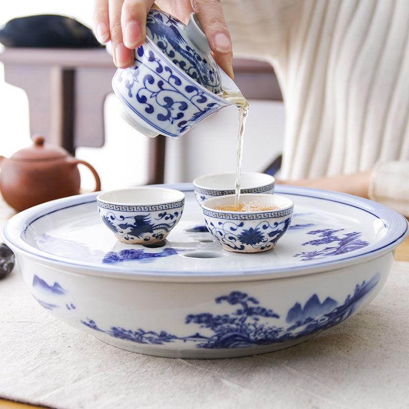 ✜❂✘現貨 304不鏽鋼茶盤 熱銷 速發  特價潮汕陶瓷工夫茶具單茶盤鼓形儲水式雙層盛水蓄水中式家用茶船