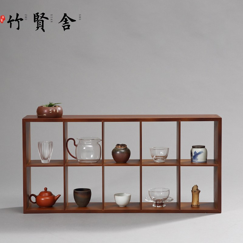 竹賢舍茶杯架子茶具收納架竹制博古架小茶壺實木展示格子架置物架