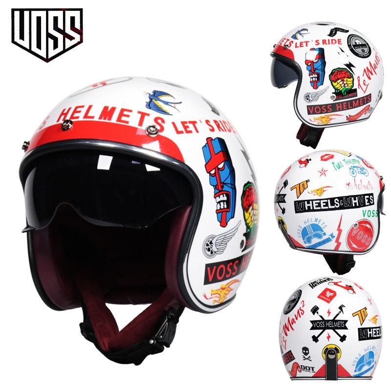 〖爆品速發〗VOSS復古哈雷頭盔男女半盔踏板機車頭盔半覆式安全帽3/4盔個性酷