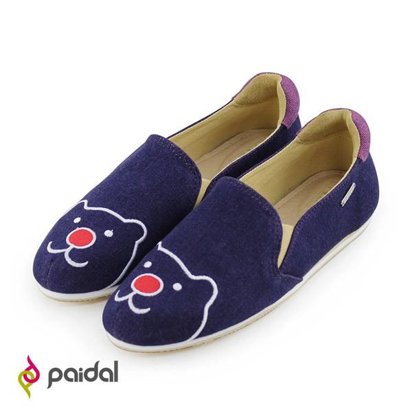 Paidal經典款紅鼻熊休閒鞋樂福鞋懶人鞋-黛紫