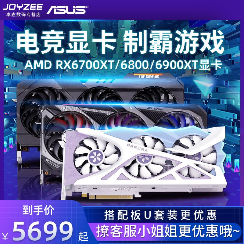 爆款AMD RX6700XT/6800/6900XT电竞显卡12/16G台式主机组装电脑独立显卡 6600XT 6900