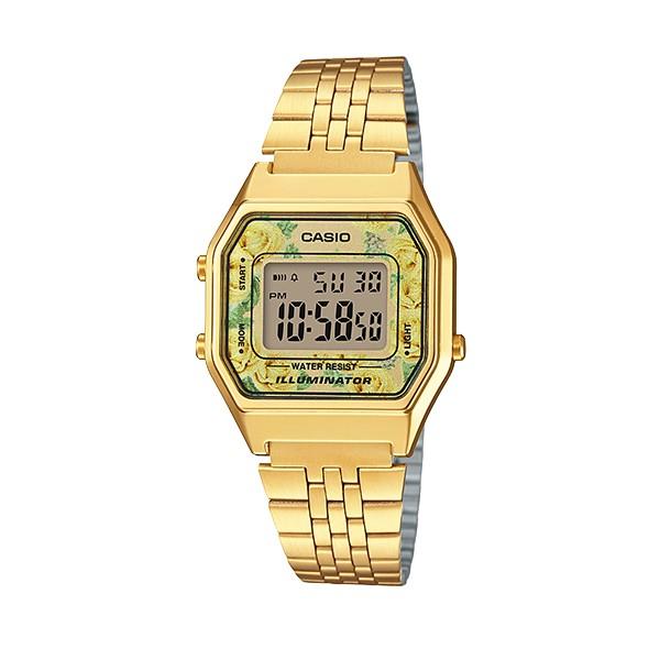 CASIO LA680WGA-9C 金x玫瑰花錶面 復古數字型電子錶 不鏽鋼錶帶 樹脂玻璃 原廠正品