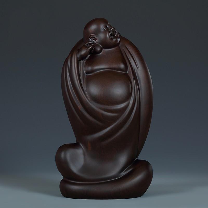 黃泉福黑檀木藝術收藏品《一快》木雕彌勒佛擺件佛像雕刻工藝禮品