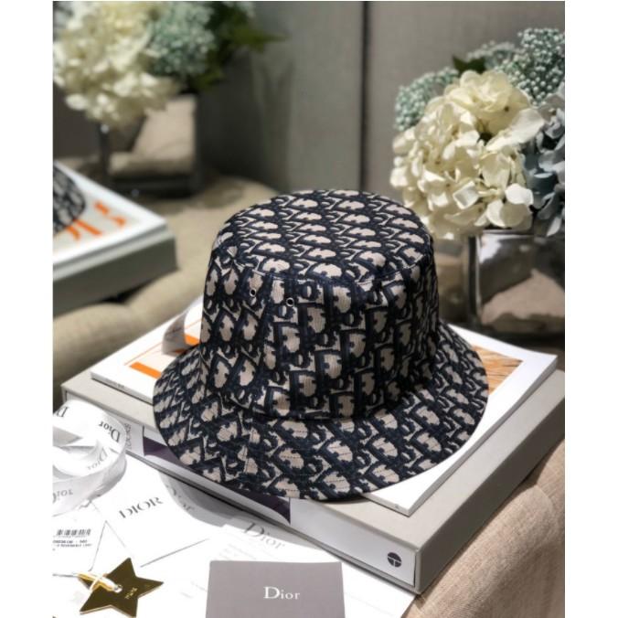 Dior/迪奧 TEDDY D 藍色棉質窄帽檐雙面漁夫帽