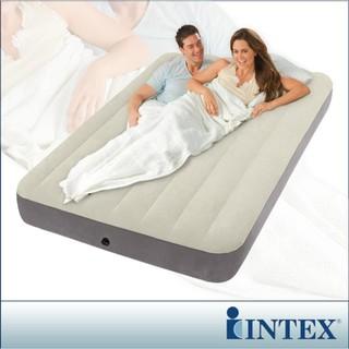 【一露遊你】買床送枕 新款線拉結構 INTEX 64708 豪華乳白雙人防水植絨充氣床 137*191*25cm 宜蘭縣